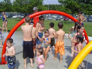 Children Playing at the Splash Park