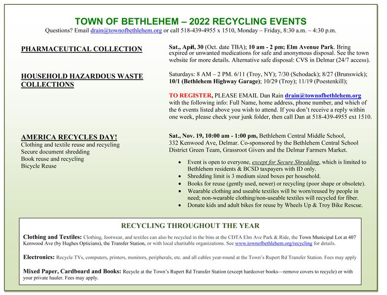 2019 Recycling Events