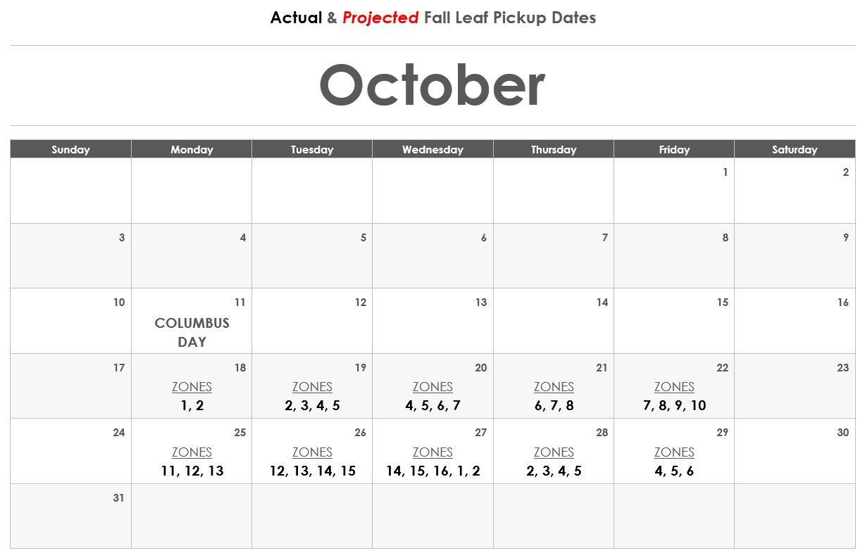Leaf PickUp Calendar - October