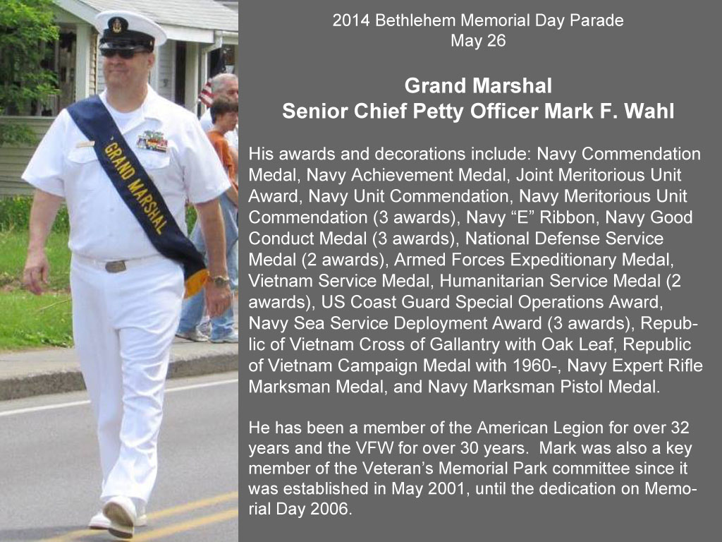 2014 Grand Marshal Senior Chief Petty Officer Mark F. Wahl, U.S. Navy