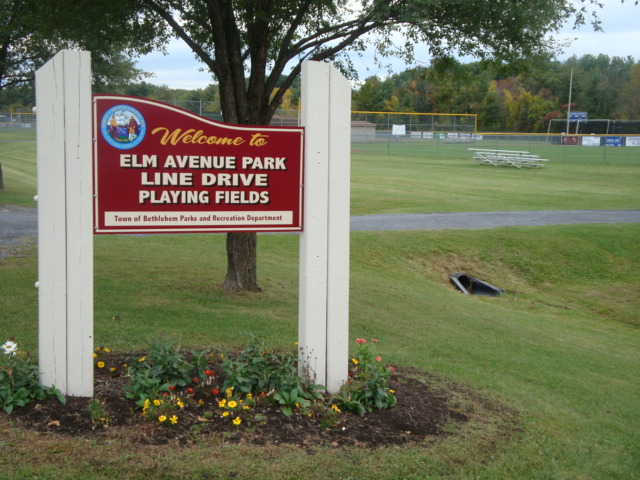 Line Drive sign at Elm Avenue Park Playing Fields